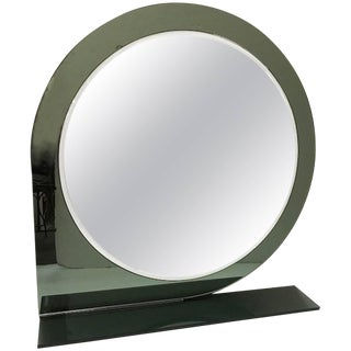 Italian 1970s Mod Style Grey and Clear Glass Round Mirror For Sale