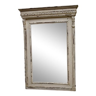 Painted Pine and Oak-Framed Mirror For Sale