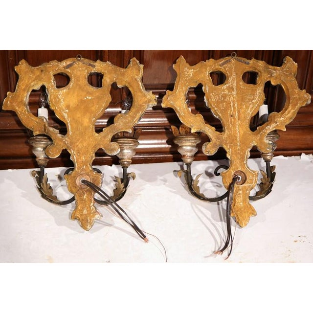 Gold Italian Carved & Metal Two-Light Sconces With Silver Leaf Finish - A Pair For Sale - Image 8 of 8