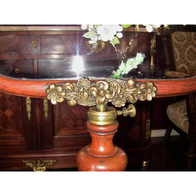 French 19c Telescopic or Extendable Tripod Based Fire Screen - Walnut With Hand Painted Glass For Sale - Image 3 of 13