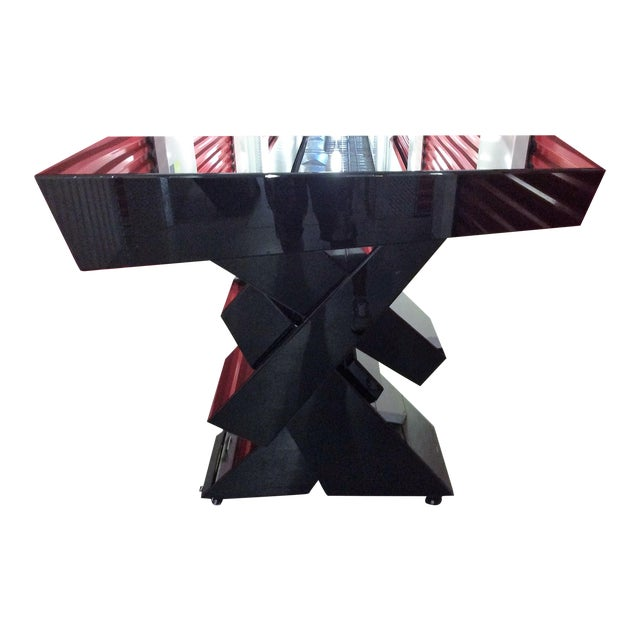 Modern Black Beveled Mirror Console Table - Image 1 of 11