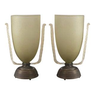 Rare Pair of Vintage Up-Light Vases