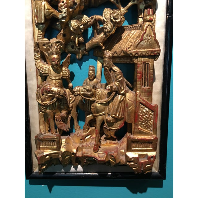 Chinese 19th Century Carved Chinese Giltwood Wall Panel For Sale - Image 3 of 10