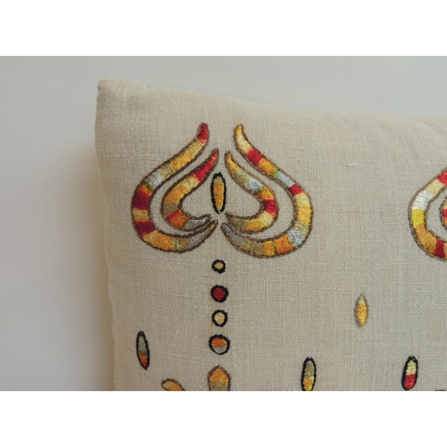 Turkish embroidered accent lumbar vintage pillow. The textile on the throw pillow textile is embroidered silk on linen....