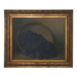 Leonard Woodruff, Concord Grapes Spilling From a Wood Charger (1880-1965) Oil Painting on Canvas For Sale