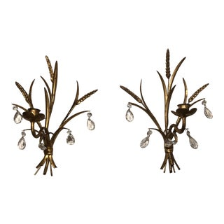 Vintage Hollywood Regency Italian Tole Wheat Sconces - a Pair For Sale