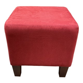 American Upholstery Red Suede Cube Ottoman For Sale