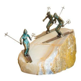 Curtis Jere Mid-Century Bronze Statue of Skiers For Sale
