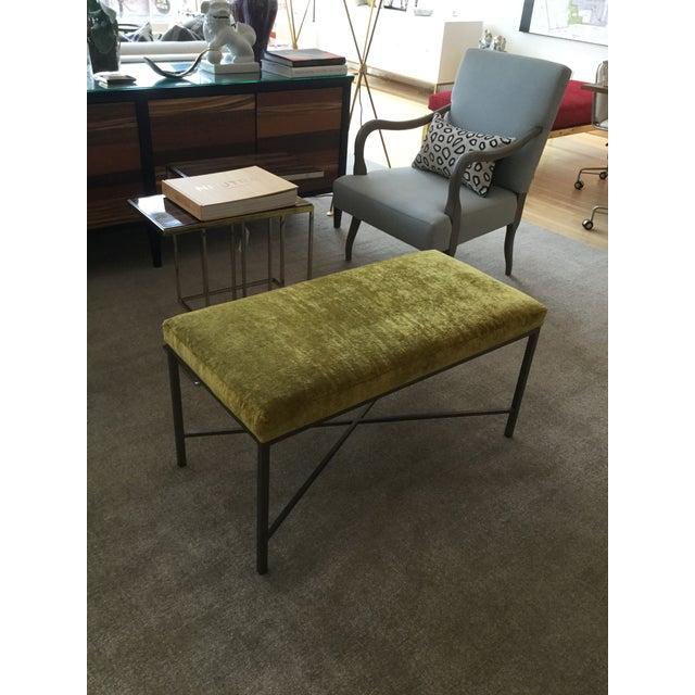 Custom Chartreuse Velvet Upholstered Bench - Image 3 of 6