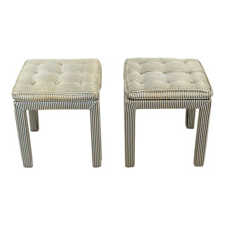 Mid-Century Modern Tufted Benches Stools Ottomans- a Pair For Sale