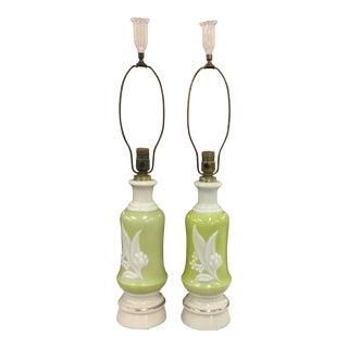 Lamps - Vintage Lemon Lime Glass Lamps - a Pair For Sale