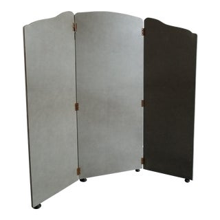 Antique 3-Panel Leather Screen For Sale
