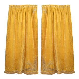 Gold Velvet Fringe Lace Drapes - a Pair For Sale