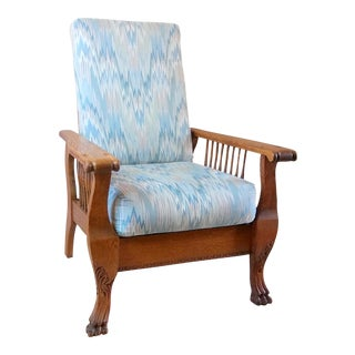 Vintage Oak Morris Claw Foot Recliner Chair