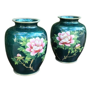 Green Cloisonné Japanese Sato Vases - a Pair For Sale