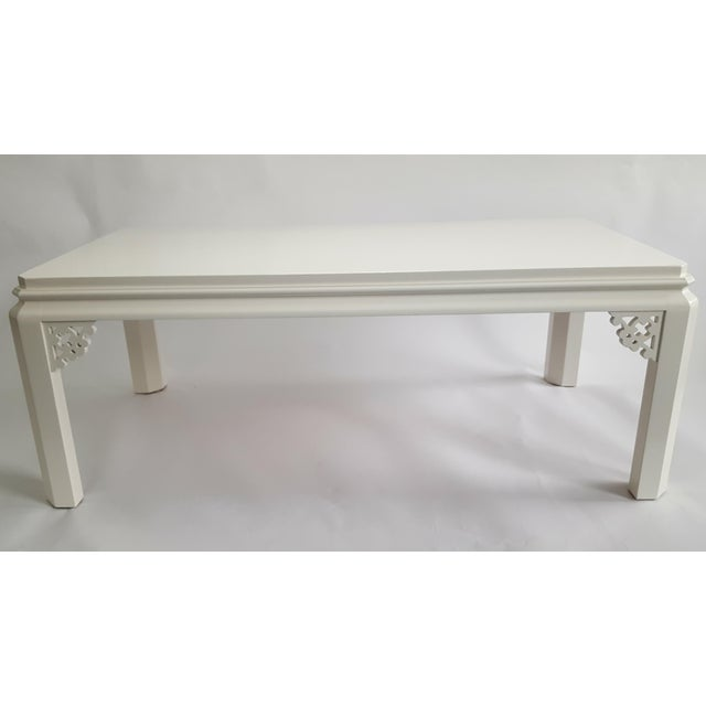 Asian Vintage Henredon Chinoiserie White Coffee Table For Sale - Image 3 of 4