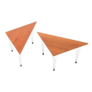 Vintage Danish Modern Pin-Age Triangle Side Tables - a Pair For Sale