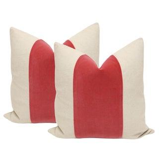 """22"""" Rosé Velvet Panel & Linen Pillows - A Pair"""
