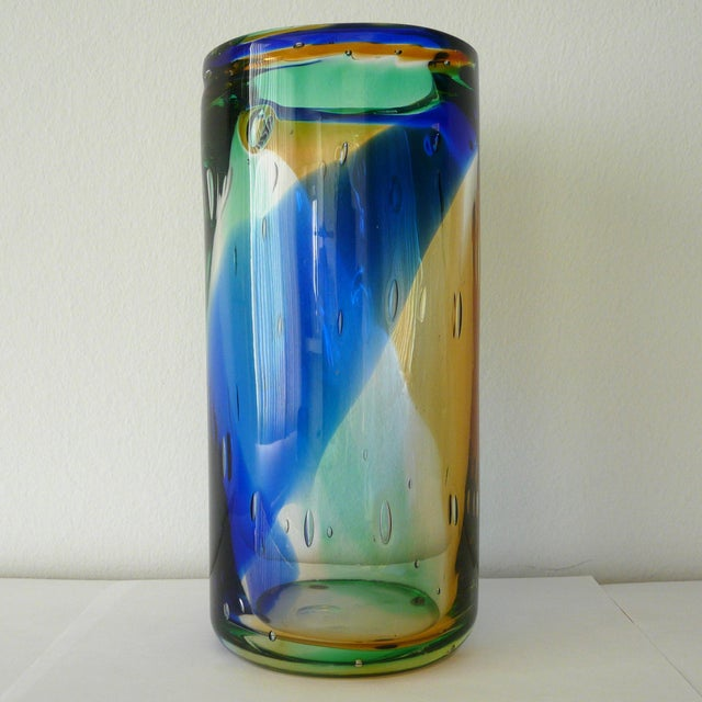 Vintage Italian cylinder vase with blue, amber and green Murano glass by Camozzo, signed on the base / Made in italy in...