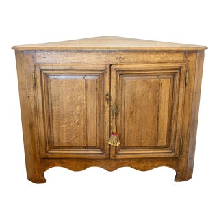Antique French Oak Corner Cabinet With Key, Circa 1880 For Sale