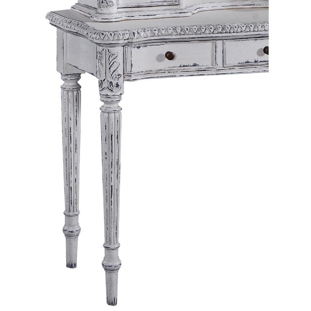 Early 21st Century Ladies Vanity Reeded Legs Oval Antique White For Sale - Image 5 of 6