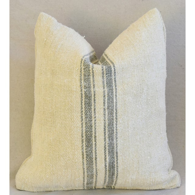 Custom French Gray Stripe Gain Sack Feather/Down Pillows - Pair - Image 6 of 8