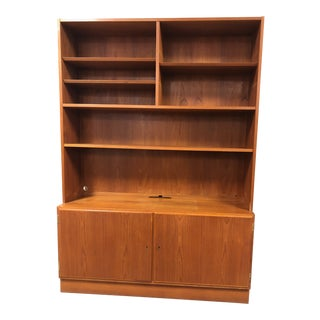 1970s Danish Modern Teak Credenza and Bookcase Hutch For Sale