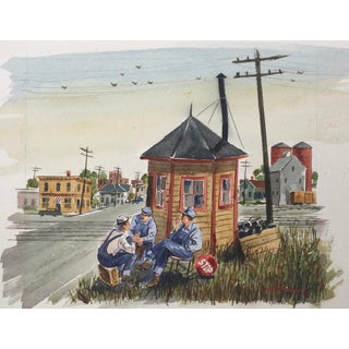 1930's Americana City Street Life Watercolor, Signed. For Sale