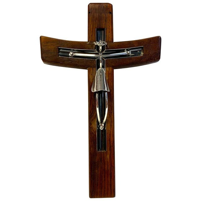 Brown Mid-Century Modern Taxco Sterling and Mahogany Crucifix For Sale - Image 8 of 8