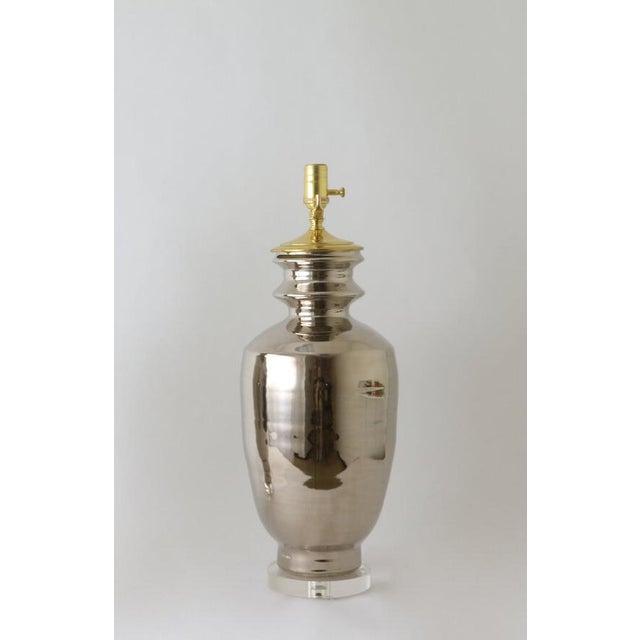 "Paul Schneider Paul Schneider Ceramic ""Marathon"" Lamp in Platinum Lustre Glaze For Sale - Image 4 of 9"