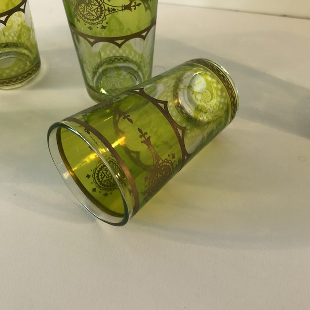 2010s Set of (6) Green and Gold Moroccan Mini Tea Glasses For Sale - Image 5 of 7