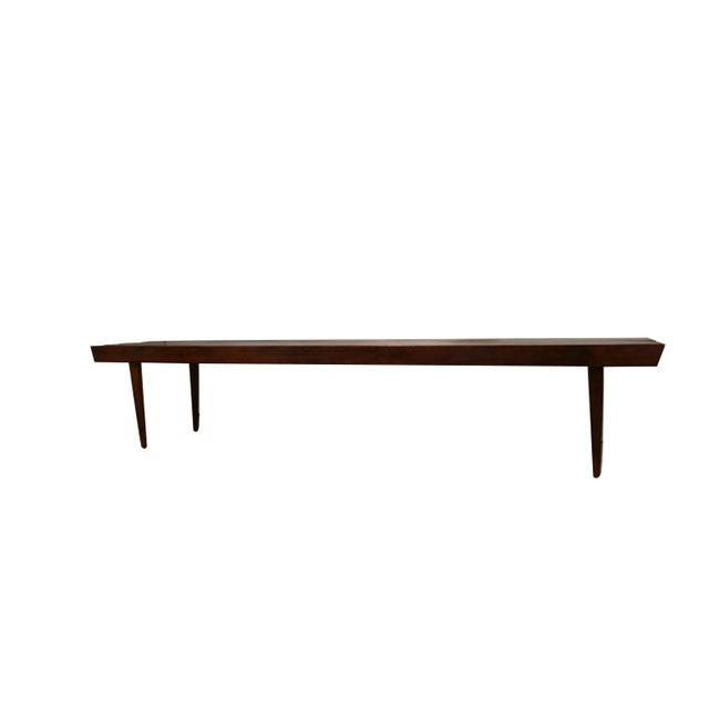 Extra long mid century slatted wood bench coffee table in George Nelson style. Amazing Mid-Century Modern George Nelson...