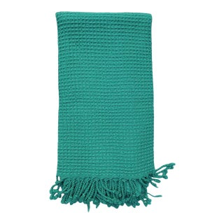 Acqua Handwoven Waffle Knit Cotton Turkish Towel For Sale