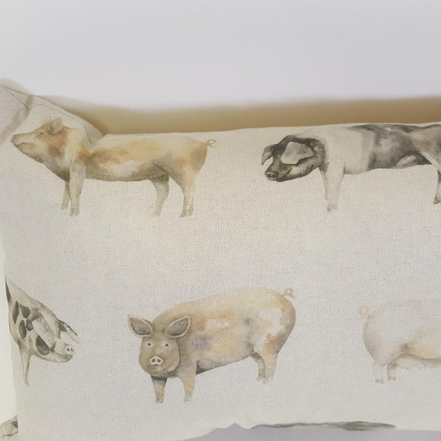 This pig bolster pillow was made in Wales, UK., by a small cottage designer/manufacturer owned by a lovely couple. The...