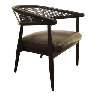 Caracole Mid-Century Modern Style Cane and Leather Just Friend Chair For Sale