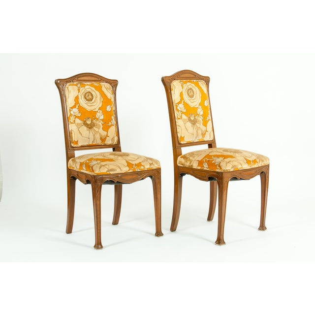 Early 20th century Louis Majorelle pair side chair . Each piece is in great vintage condition with appropriate wear...