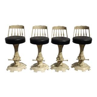 Set Four Vintage Spanish Style White Bar Stools Barstools Mid Century Modern For Sale