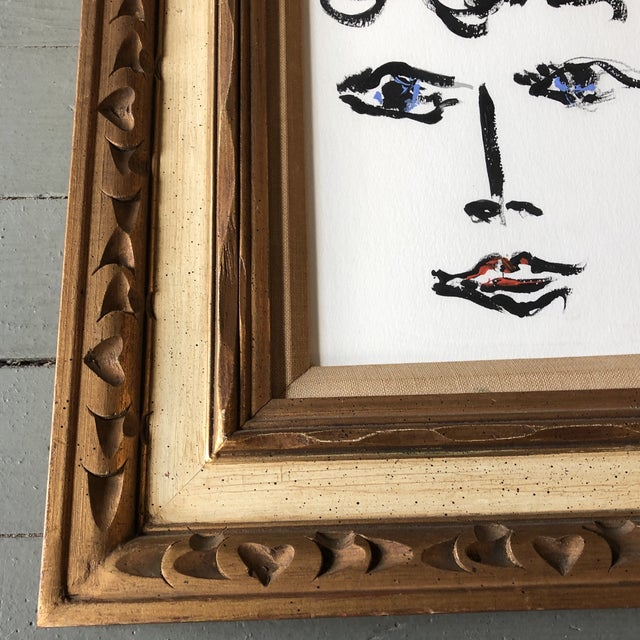 Contemporary Contemporary Original Female Abstract Portrait Painting Vintage Ornate Frame For Sale - Image 3 of 5