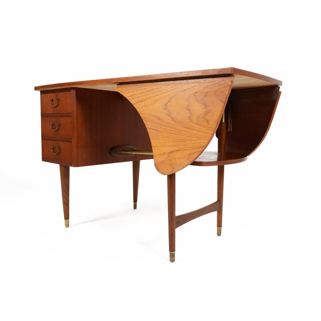 Danish Modern Biomorphic Double Drop Leaf Desk - Image 8 of 11