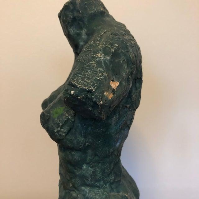 1960s Mid-Century Verdigris Nude Bust Sculpture For Sale - Image 5 of 11