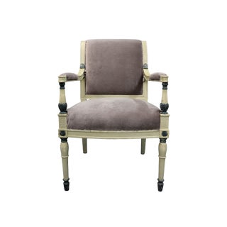 Vintage Gray Upholstered Arm Chair For Sale