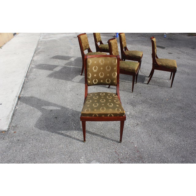 Gold 1910s Vintage French Empire Solid Mahogany Dining Chairs - Set of 6 For Sale - Image 8 of 13