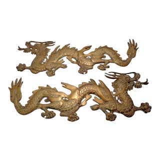 Mid Century Brass Wall Dragons ~ a Pair For Sale