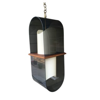 Mid-Century Modern Lucite & Wood Pendant Light For Sale
