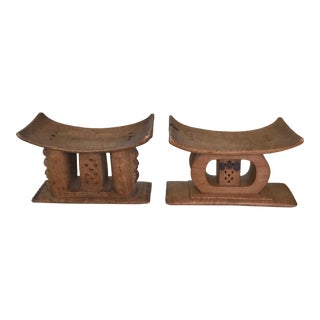 Pair of Ashanti African Tribal Stools in Hand Carved Wood, Early 20th Century For Sale
