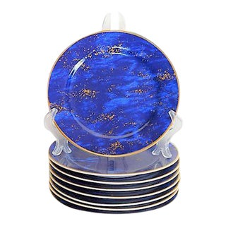 Vintage Lapis Lazuli Designer Plates for Neiman Marcus - Set of 8 For Sale