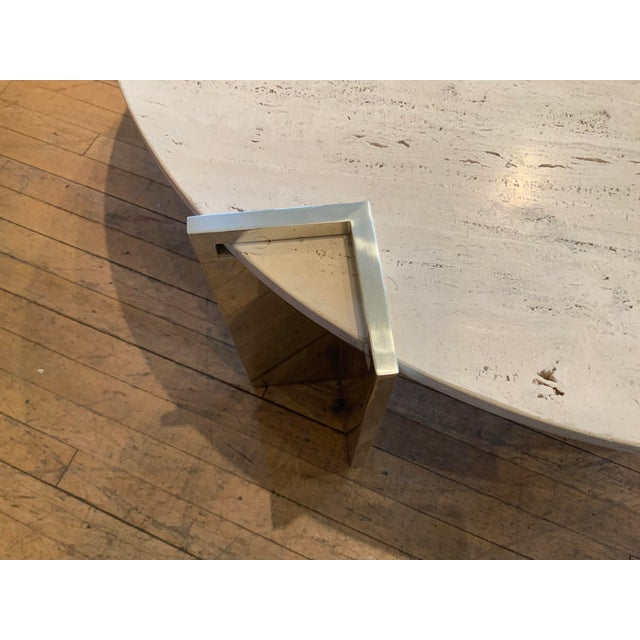 1970s 1970s Travertine and Steel Cocktail Table by Pace Collection For Sale - Image 5 of 8