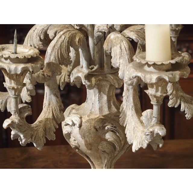 French Blue Gray Painted Rococo Style Table Candelabra For Sale - Image 9 of 10