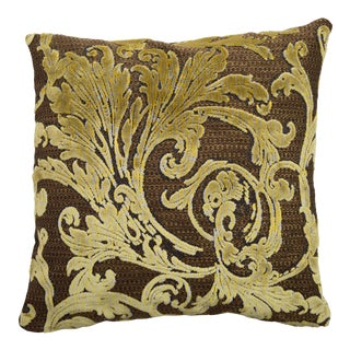 FirmaMenta Italian Gold and Brown Botanical Damask Velvet Square Pillow For Sale
