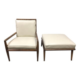 Mid-Century t.h. Robsjohn-Gibbings Lounge Chair + Ottoman for Widdicomb For Sale